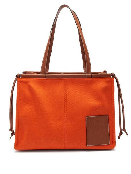 Loewe - Cushion Small Canvas Tote Bag - Womens - Orange Multi