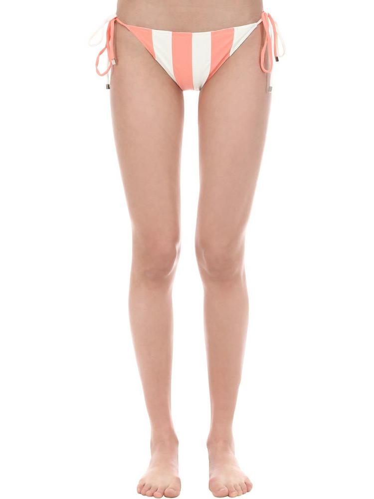 PAPER LONDON Striped Bikini Bottoms in orange / white