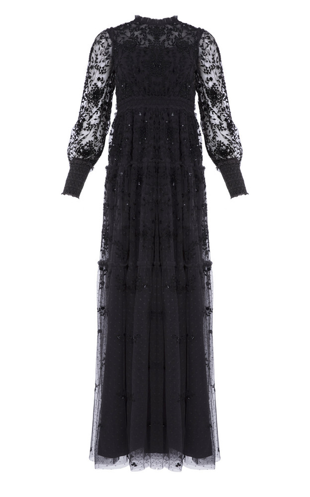 Needle & Thread Whitethorn Embroidered Gown Size: 6 in black