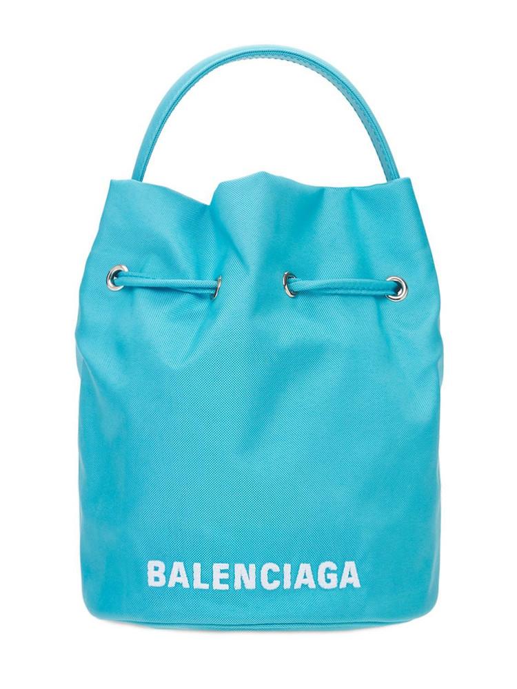 BALENCIAGA Recycled Tech Bucket Bag in white