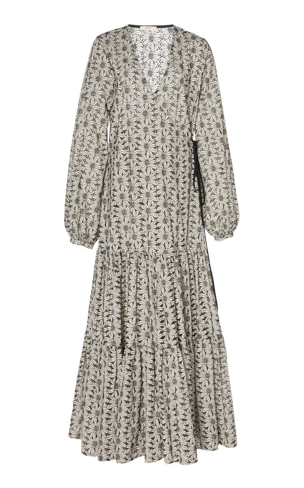 Matin Floral Broderie Anglaise Cotton Maxi Dress in black / white