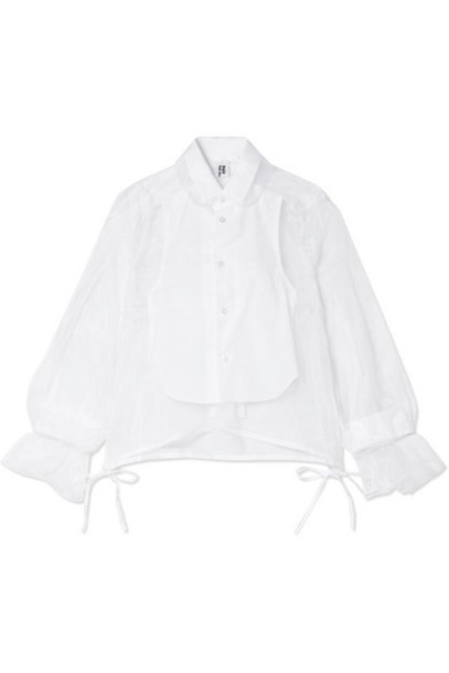 Noir Kei Ninomiya - Cotton Poplin-paneled Organza Shirt - White