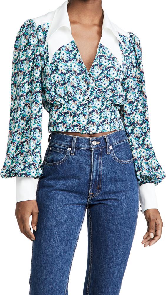 endless rose Floral Collar Detail Shirt in navy / multi