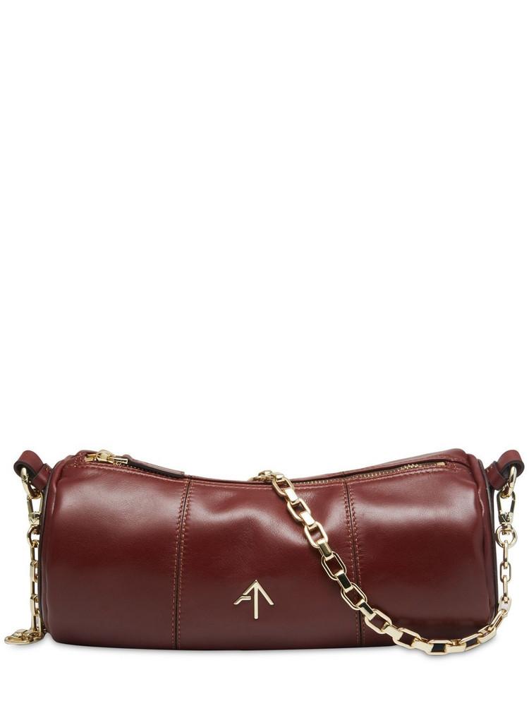 MANU ATELIER Cylinder Leather Shoulder Bag in brown