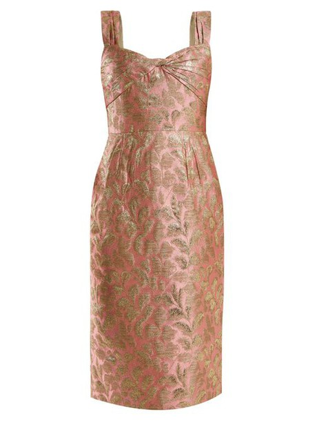 Prada - Sweetheart Neck Floral Brocade Dress - Womens - Light Pink