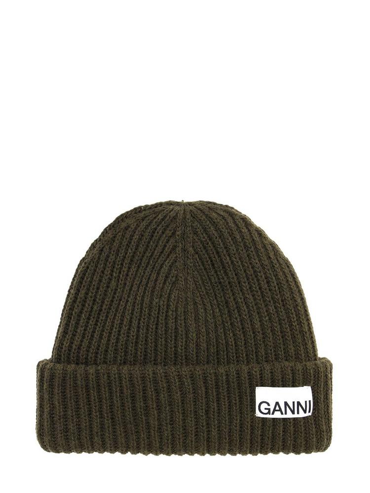 GANNI Recycled Wool Blend Knit Beanie