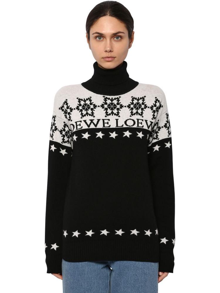 LOEWE Snowflake Intarsia Knit Turtleneck in black / white