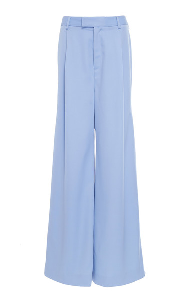 Pyer Moss Wide-Leg Silk Trousers Size: XL in blue