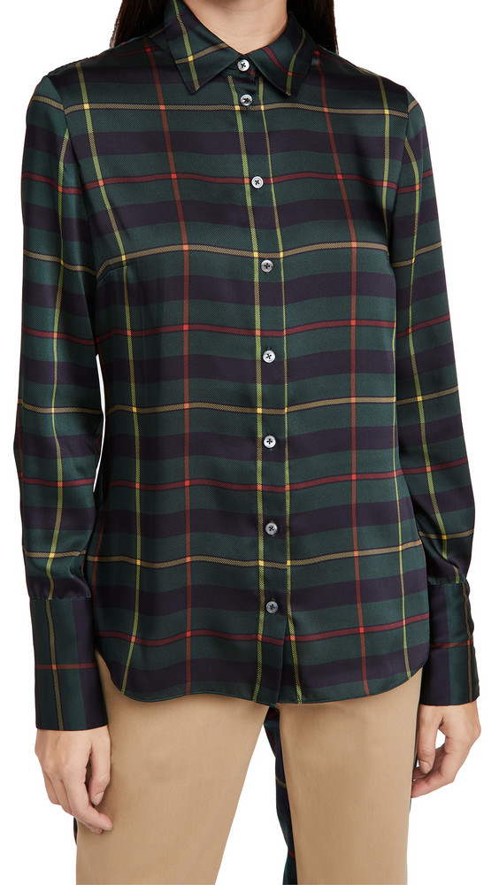 Monse Cowl Back Plaid Blouse in midnight / multi