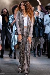 pants,animal print,python,snake print,zendaya,celebrity,blazer,suit,top