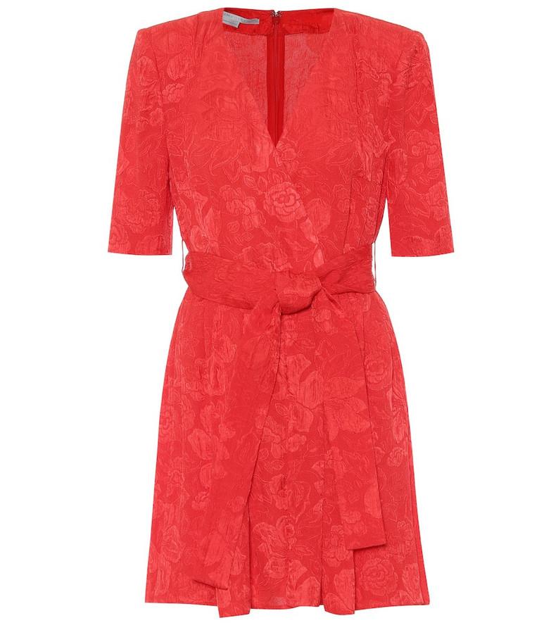 Stella McCartney Mireya silk jacquard playsuit in red