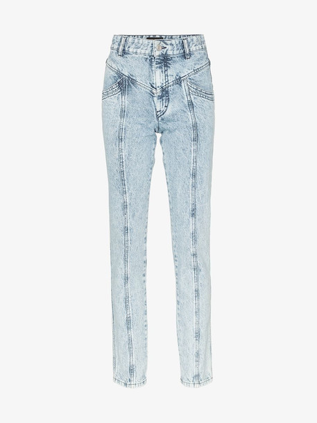 Isabel Marant Lorricka acid wash seam detail skinny jeans in blue
