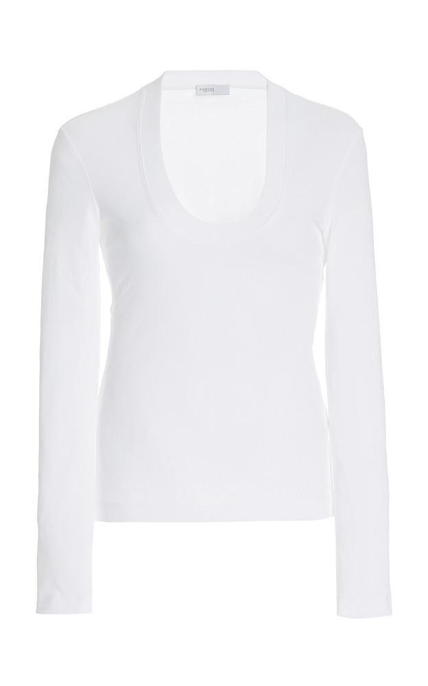 Rosetta Getty U-Neck Knit Cotton Top in white