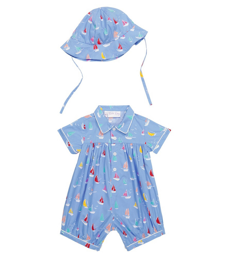Rachel Riley Baby printed cotton romper and hat set in blue
