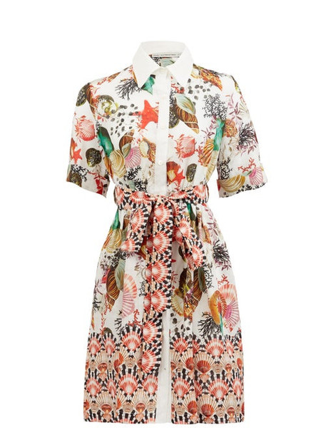 Mary Mare - Capri Shell-print Linen Shirt Dress - Womens - White Print