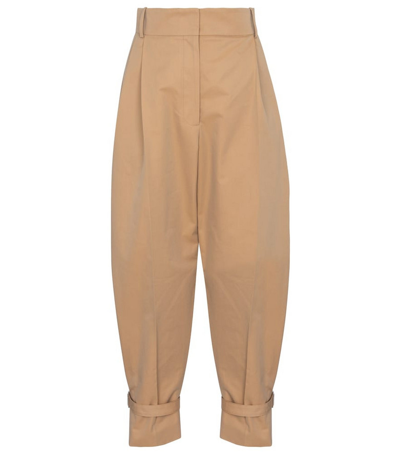 Alexander McQueen High-rise cotton carrot pants in beige