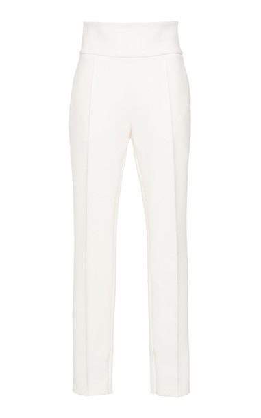 Alexandre Vauthier Pleated Crepe Slim-Leg Pants in white