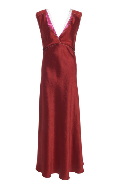 Marni Lace-Trimmed Satin Dress in red