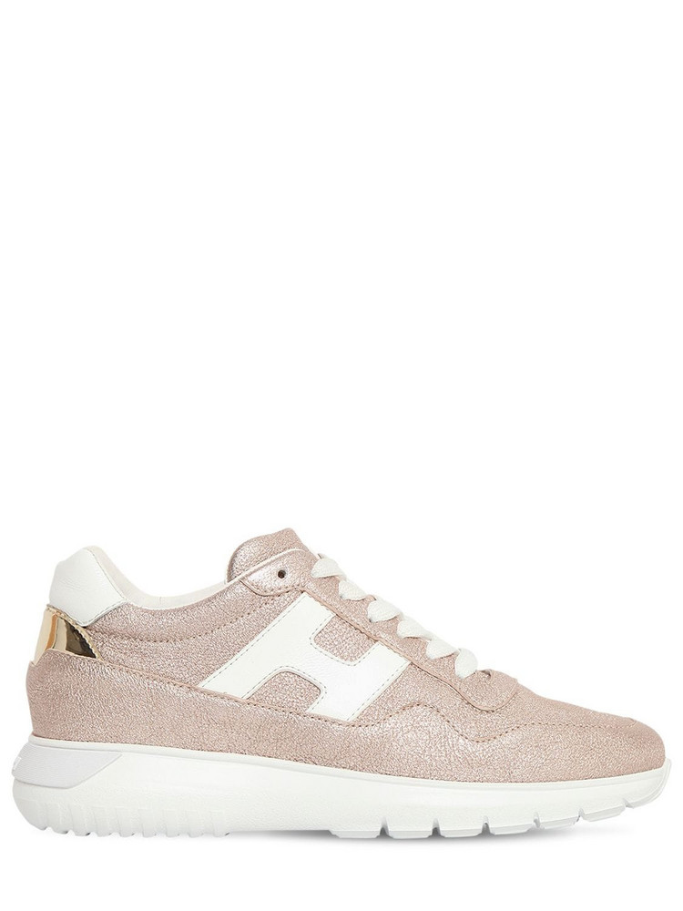 HOGAN 60mm I Cube Lamè Leather Sneakers in pink