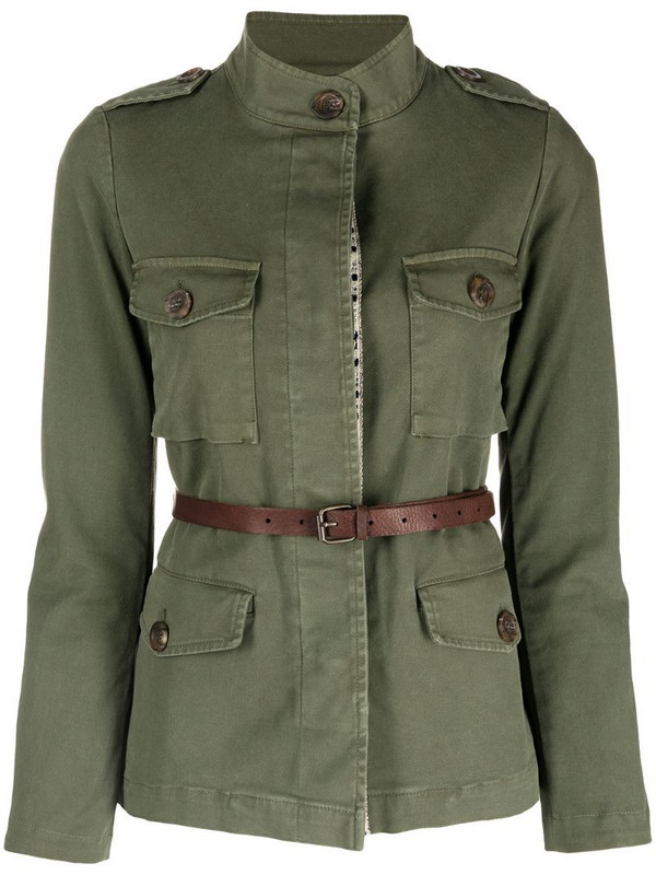 Bazar Deluxe belted waist safari jacket in green