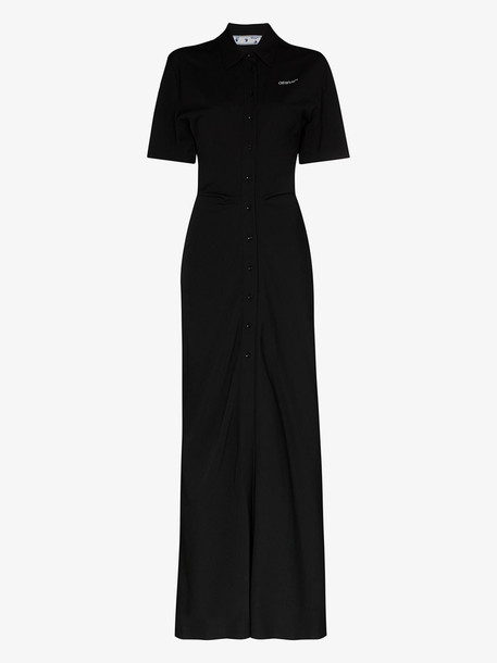 Off-White long fitted shirt dress in black