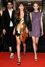 dress,asymmetrical,asymmetrical dress,dakota johnson,sandals,gold