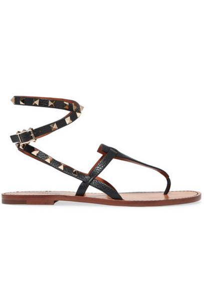Valentino - Valentino Garavani The Rockstud Textured-leather Sandals - Black