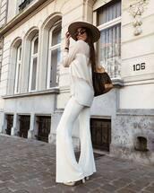 pants,white pants,flare pants,bershka,white boots,heel boots,white blouse,zara,brown bag,louis vuitton bag,felt hat
