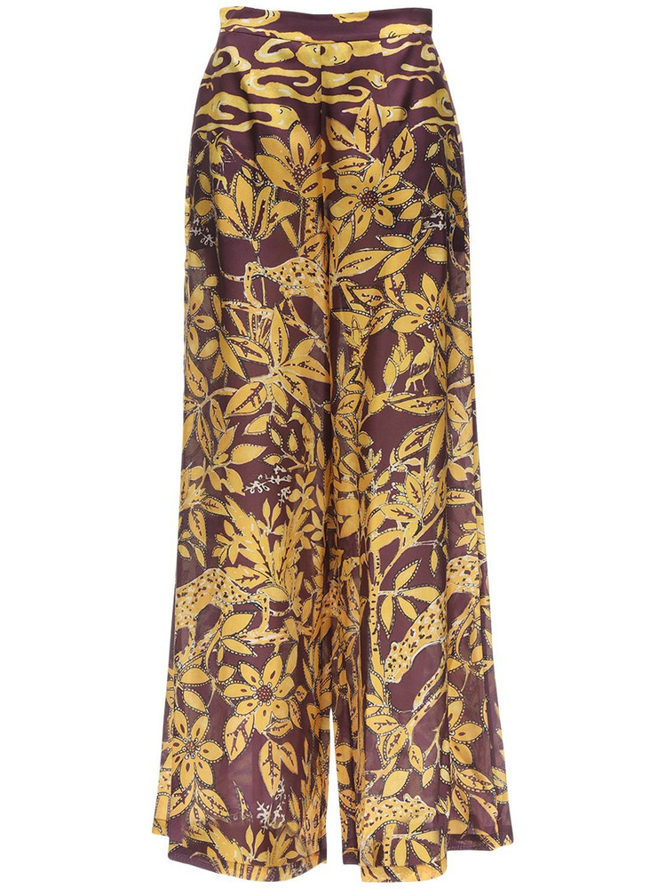 L'AUTRE CHOSE High Waist Printed Crepe Wide Leg Pants in purple / yellow