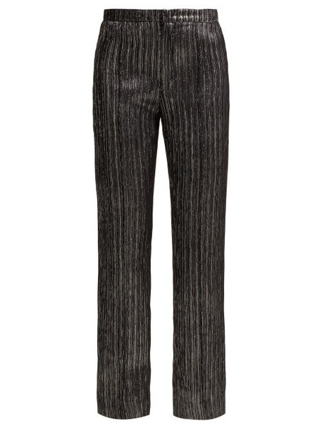 Isabel Marant Denlo Cropped Lamé Trousers Womens Black Silver