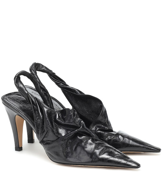 Bottega Veneta BV Point 90 leather slingback pumps in black