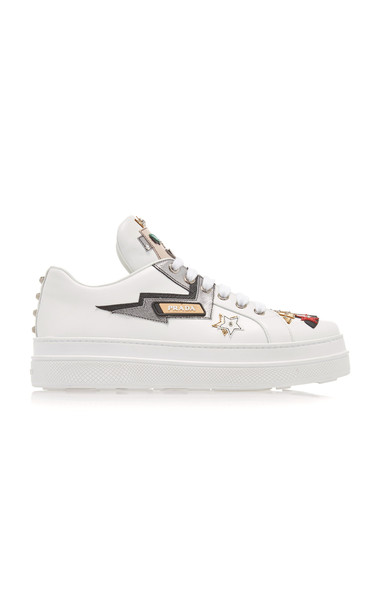 Prada Appliquéd Leather Platform Sneakers Size: 35