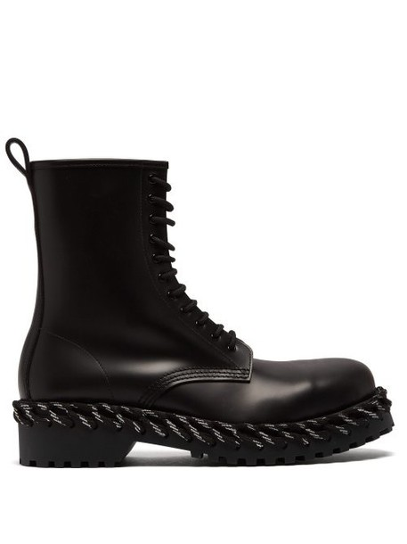Balenciaga - Rope Stitched High Top Leather Boots - Womens - Black
