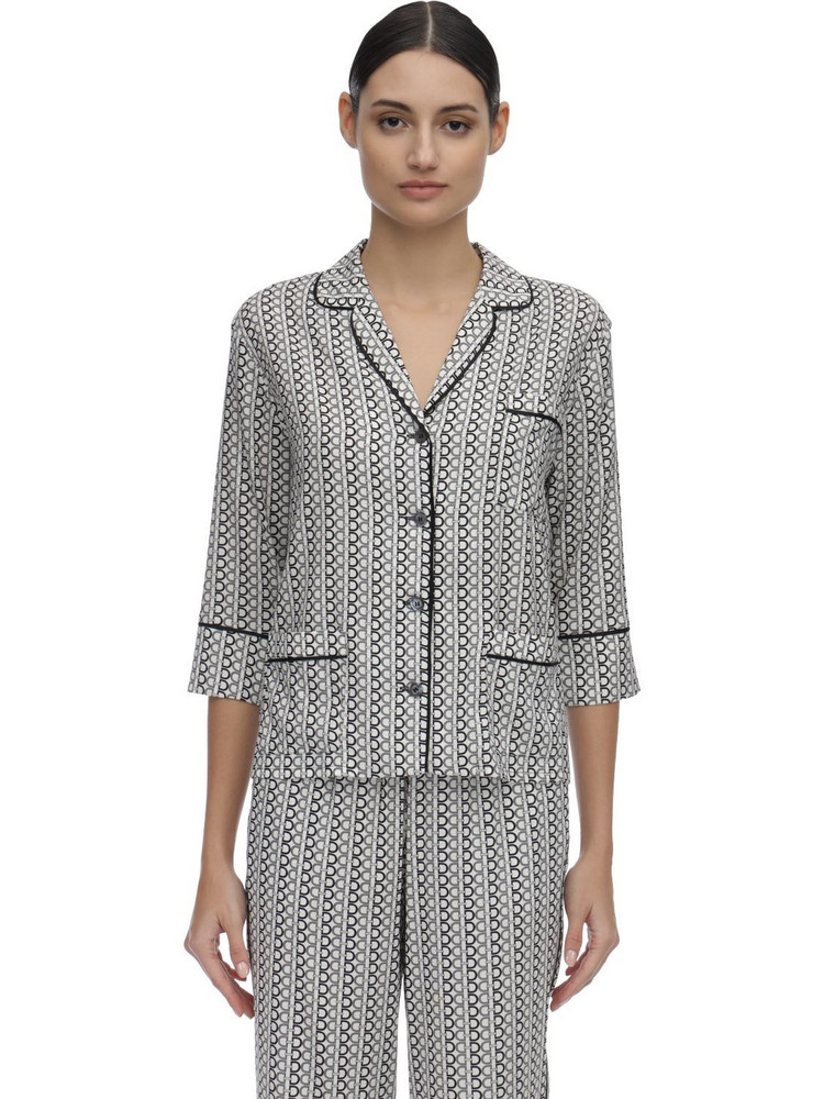 LAURA URBINATI Printed Silk Satin Pajama Shirt in black / white