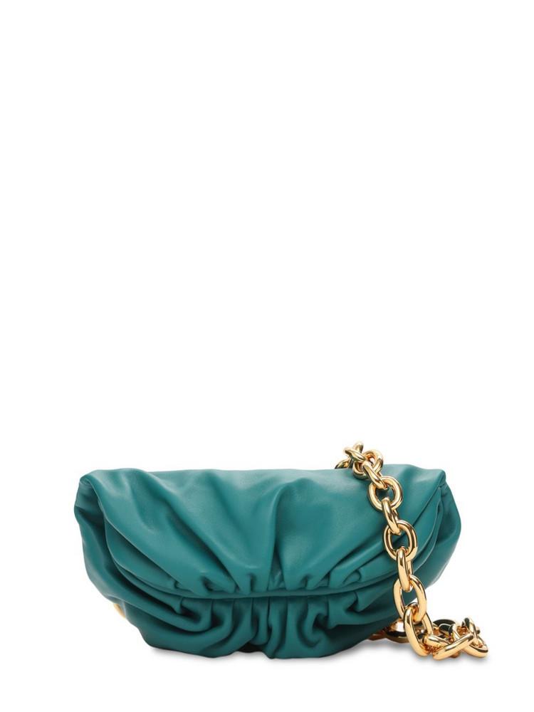 BOTTEGA VENETA Smooth Leather Pouch Belt Bag W/ Chain in gold