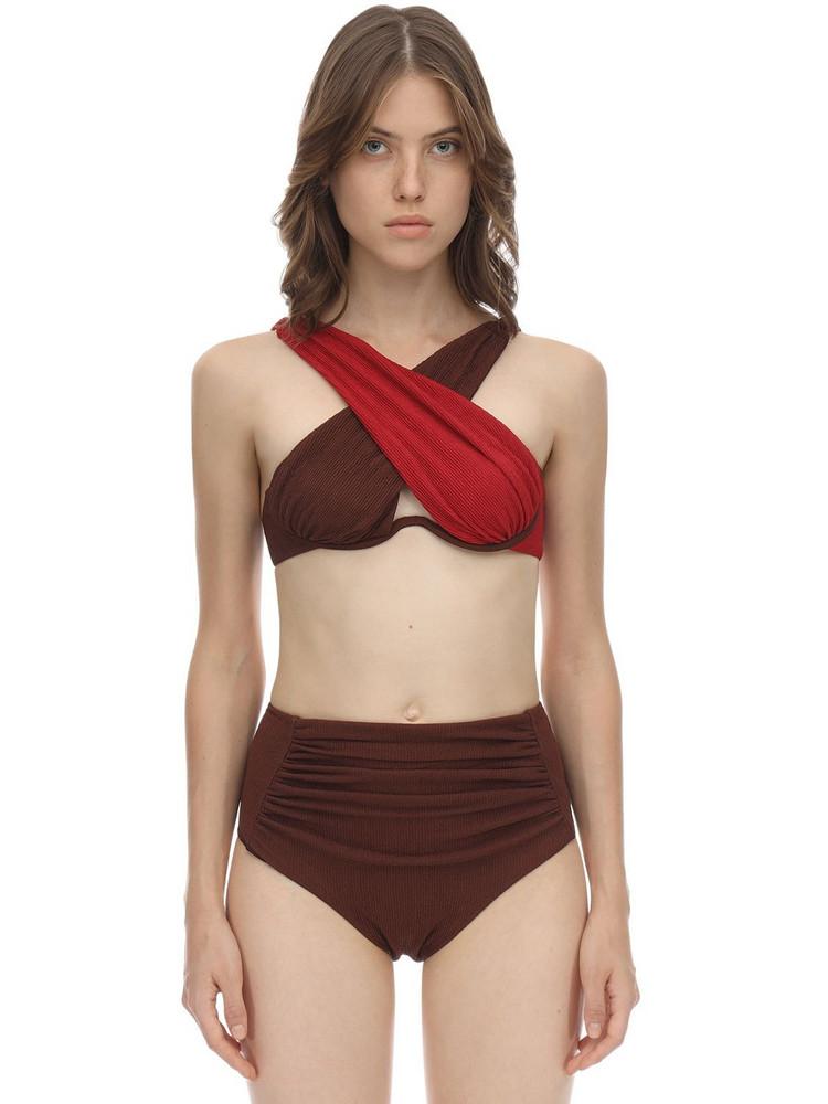 SELF-PORTRAIT Crisscross Seersucker Bikini Top in brown / red