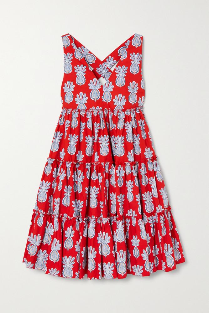 La Double J - Tiered Printed Cotton-poplin Mini Dress - small in red