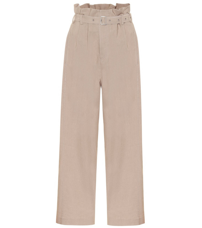 Low classic Wide-leg paperbag pants in beige