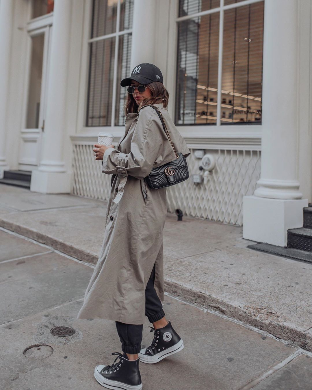 shoes sneakers converse trench coat black pants gucci bag hat