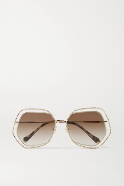Miu Miu - Oversized Hexagon-frame Gold-tone Sunglasses