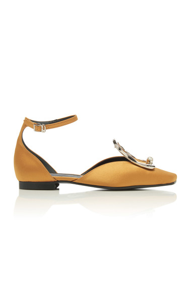 Yuul Yie Buckle-Detailed Embellished Satin Flats in yellow