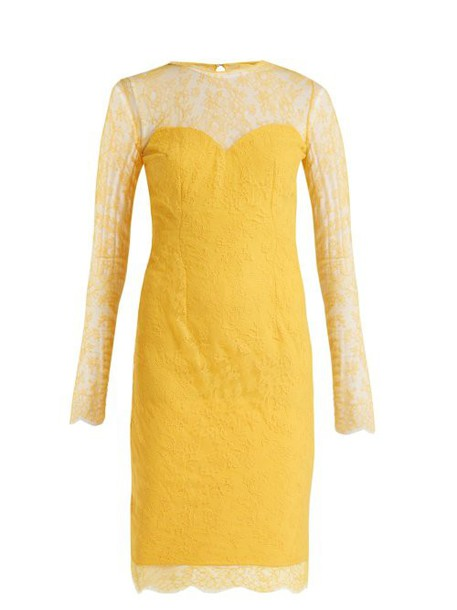 Emilio De La Morena - Julietta Lace And Silk Blend Dress - Womens - Yellow