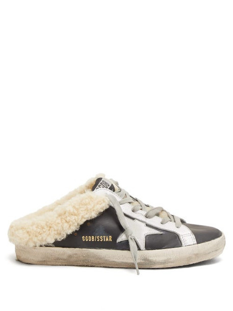 Golden Goose - Superstar Shearling Lined Leather Trainer Mules - Womens - Black Cream