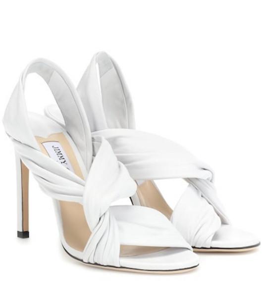 Jimmy Choo Lalia 100 leather sandals in white