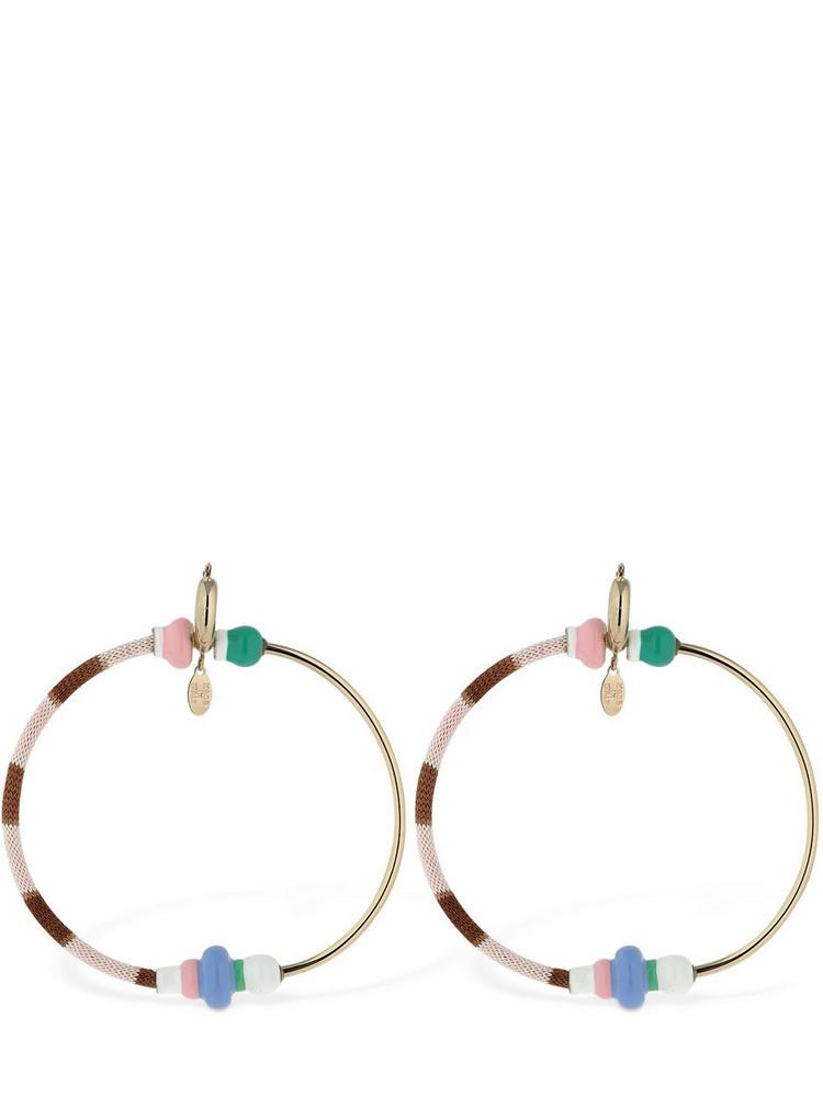 MISSONI Half Knit Big Hoop Earrings in brown / pink