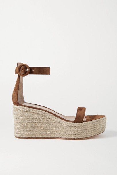 Gianvito Rossi - Portofino 85 Suede Espadrille Wedge Sandals - Brown