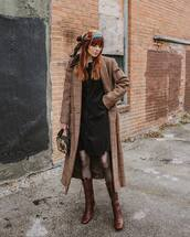 shoes,brown boots,lace up boots,prada,knee high boots,plaid,long coat,tights,shirt dress,black dress,handbag,scarf