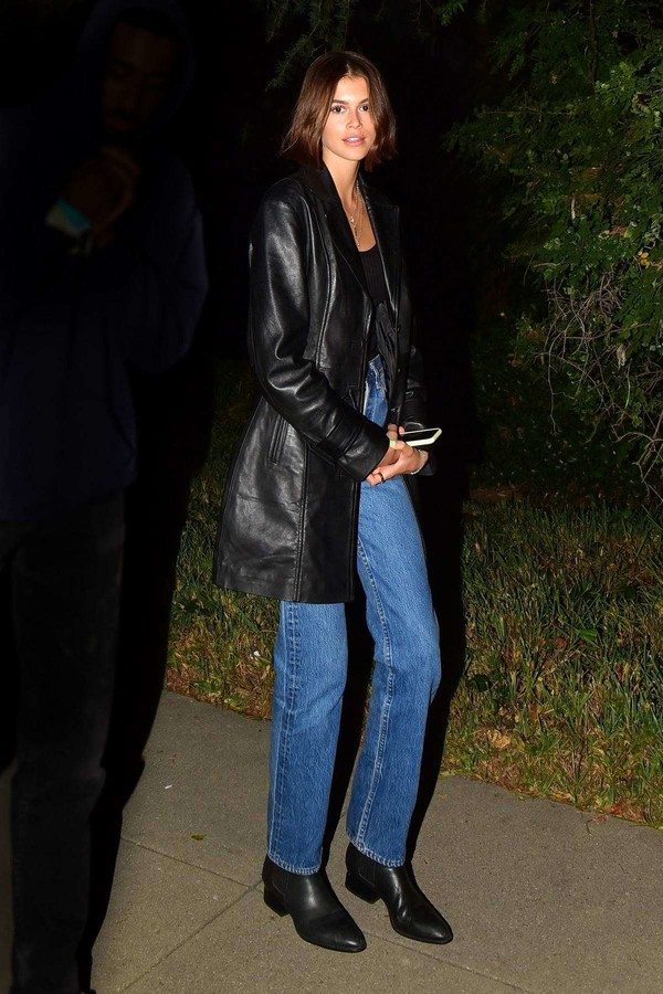 jacket leather leather jacket kaia gerber model off-duty denim jeans fall outfits