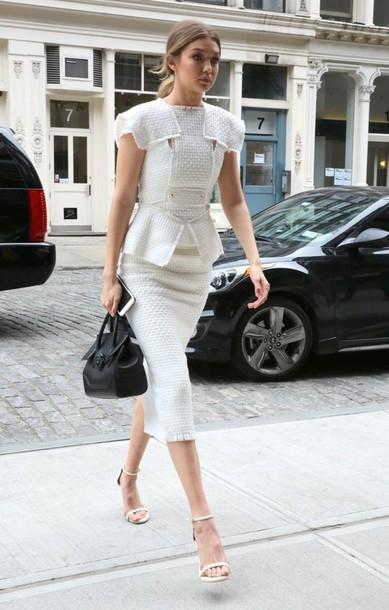 skirt top midi skirt pencil skirt white two-piece sandals gigi hadid blouse white sandals