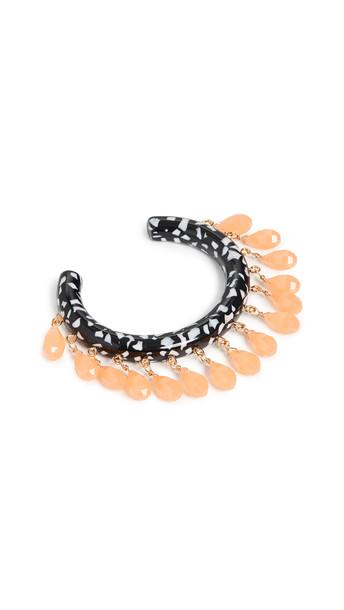 Lele Sadoughi Slim Rattle Bracelet in black